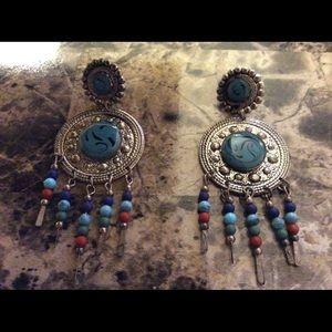 Silvertone and faux turquoise pierced earrings